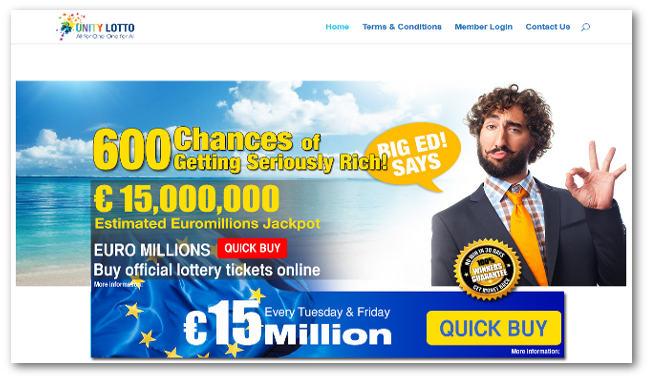 Unity Lotto website
